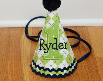 Boys First Birthday Party Hat - Green and navy blue argyle - Free personalization