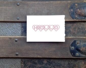 hello hearts letterpress card