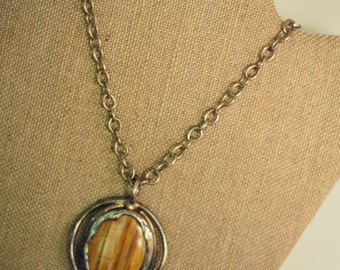 Mid Century Denmark design Marble and .925 silver chunky mod necklace