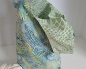 Batik Snakeskin and Fern Japanese Knot Bag - Reversible Cotton Knitting/Crochet Project Bag