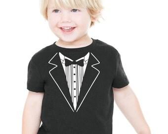 Wedding Tshirt Child size Tuxedo  shirt Rehearsal Shirt Tux