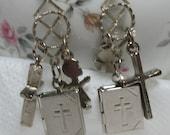 Earrings, Gift Dangle and Drop Earrings, Bible, Cross and Angel,  Easter,  Earrings, Silver  Gift Earrings, Gift for Teen Girl