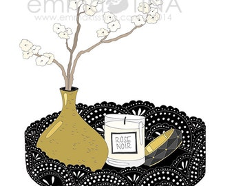 Black and Gold Tray Decorative Illustration Art Poster