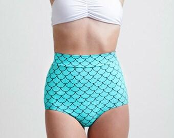 Seafoam Little Mermaid High Waisted Classic Pinup Style Bikini Bottoms