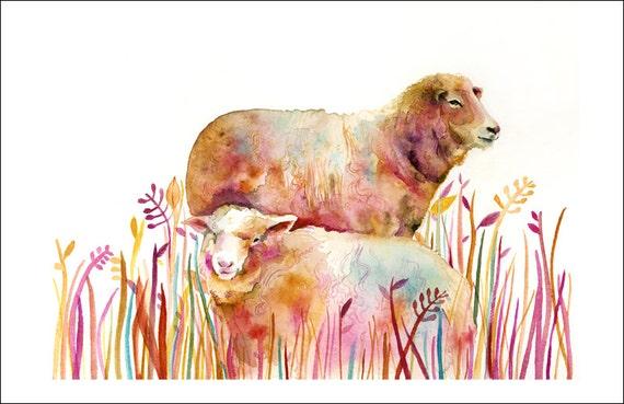 Animal painting, animal watercolor, Sheep watercolor, Sheep Painting, Sheep art - print of Original Watercolor Painting