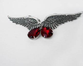 Silver Wing Earrings Red Swarovski Crystal Drop Earrings Clip On clip-on earrings gift for women Gothic Jewelry Angel Wings