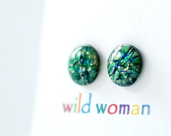 Stud Earrings, Glitter Jewelry, Sparkly Earrings, Post Earrings, Vintage Lucite Jewelry, Simple Studs, Blue and Green Foiled Earrings