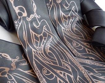 Octopus Necktie, Octopus Tie, Mens Necktie, Boyfriend Gift, Husband Gift, Vegan Gift - The Fancy Octopus Tie
