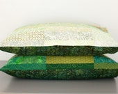 quilted pillow shams in Meadow Green - Standard size - made to order