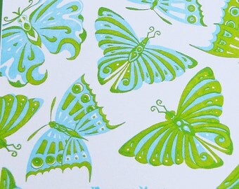 Blue and Green Butterflies Thank You Card