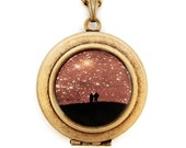 Love Under The Stars - Photo Locket Necklace -Stargazing Lovers