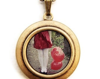 Red Balloons - Photo Locket - Dreamy Red Balloons Photo Locket Necklace