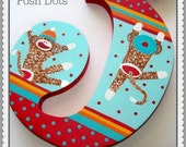Custom Hand Painted Wooden Number featuring Sock Monkeys