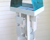 Bird Feeder Modern Build series bird feeder No. 14 in white welded steel with natural turquoise patina copper roof