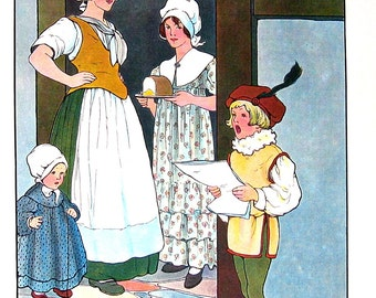 Little Tom Tucker - Mother Goose Print - 1989 Vintage Book Page - 9 x 11
