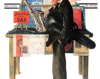 Jazz It Up with a Sax - 1976 Norman Rockwell Print - Saturday Evening Post Cover Reproduction - 14 x 10