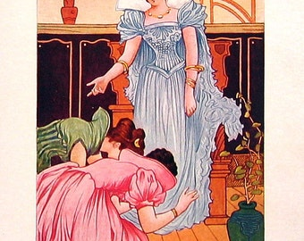 1902 Antique Children's Book Plate - Cinderella and her Stepsisters