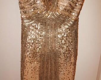 Vintage 1980s LA FEMME Gold Sequin Sweetheart Cocktail Dress