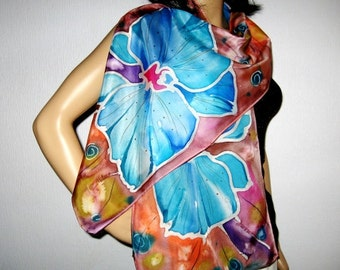 Women Silk Scarf Hand Painted ORCHIDS Floral design Fall Fashion