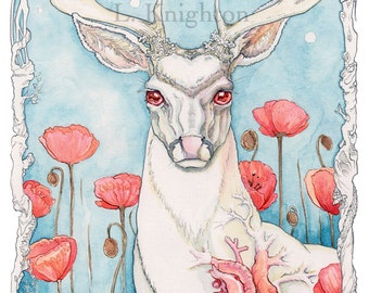 Mercy, large print on watercolor paper, from the Going Stag series