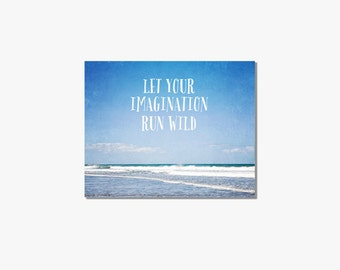 Typography beach canvas art, Canvas Gallery Wrap, bright blue, beach wall art, ocean photography, inspirational wall art, beach decor