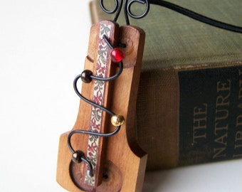 SALE...Musical Wooden Necklace/Ornament...Recycled Piano