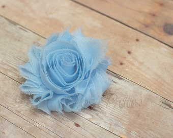Light Blue Shabby Flower Hair Clip