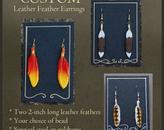 CUSTOM Leather Feather Earrings - Bird Feather Earrings Made to Order