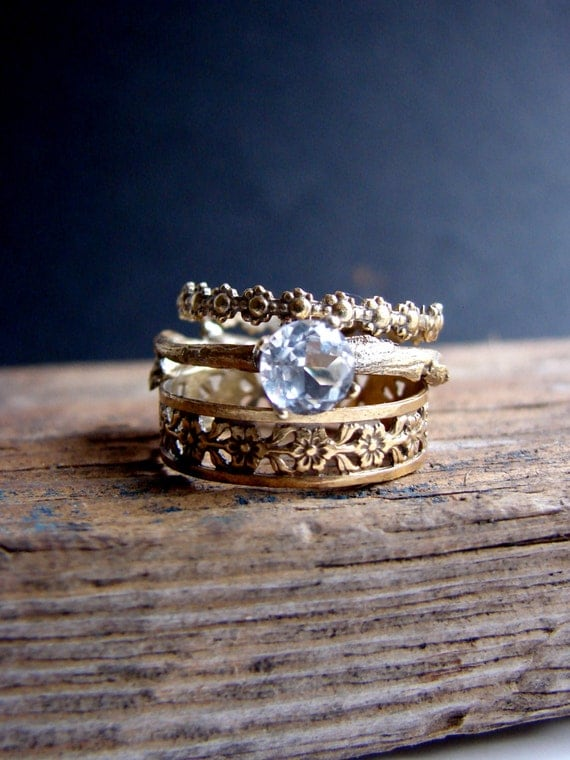 white gold stack rings