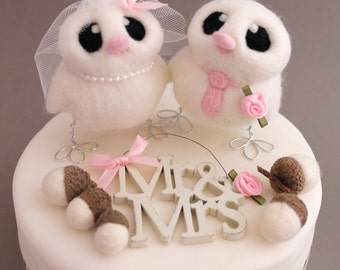 Custom Bird Wedding Cake Topper Bride and Groom Choose Your Colours