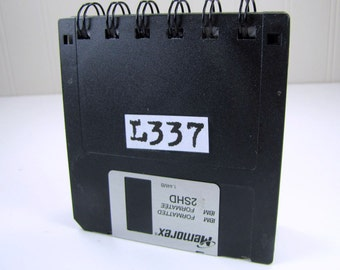 L337 or LEET in Computer Lingo Floppy Disk Recycled Blank Mini Notebook in Black