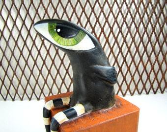 Paper Mache - Art Sculpture - Melville - Sitting Big Eyed Bird on a Block