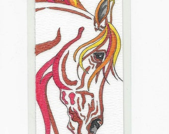 Colorful Fantasy Horse BOOKMARK Original Abstract Watercolor Art