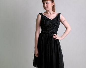 Vintage 1960s Chiffon Dress - Cocktail Party Black Noir Dress with Beaded Bodice - Medium