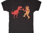 Dinosaur vs Robot - Unisex Mens T-shirt Retro SciFi Tee Shirt Awesome Funny Red Dino Orange Geek Vintage Boxing Tri Black Charcoal Tshirt