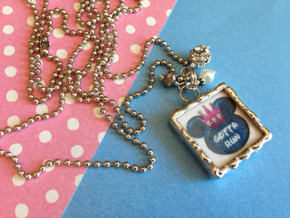 Disney Princess BLUE Soldered Pendant, Gotta Run, princess half marathon, Princess 10K, Princess 5K, Run Disney jewelry, Enchanted 10K, GSC