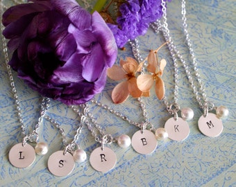 SIX Personalized Bridesmaid Necklaces, Bridesmaid Set, Pearl Necklace with Initial, Bridesmaid Gift, Bridal Party Gift