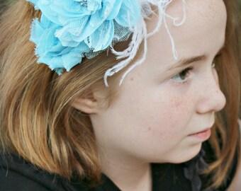 Light Blue OTT Glamour Bloom Hair Flower clip headband