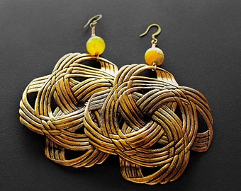 Brass Earrings, Love Knots Lemon Zest Large Brass Earrings