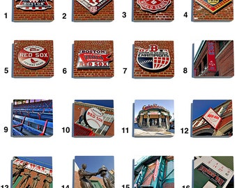 Boston Red Sox Stone Drink Coaster Set in Color - Pick Any 6. Original photography.
