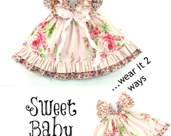 Girls Dress Pattern -- Sweet Baby Doll --Dress 0 months through 12 girls PDF Instant