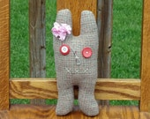 Wool Rabbit with Vintage Button Eyes -A Feral Rabbit- One of a Kind Original Stuffed Animal - Weird