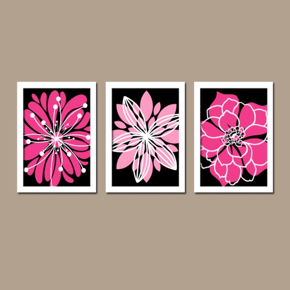 Black hot pink wall art canvas or prints hot pink by trmdesign for Hot pink and black wall decor
