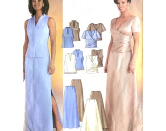 Easy Two Piece Evening Dress Sewing Pattern - Butterick 3843 - Wedding / Mother of Bride / Prom - Size 8-10-12 Uncut