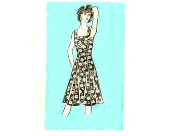 70s Sundress Fit and Flare / Princess Seams - Vintage Sewing Pattern Mail Order 9374 - Size 12 / Bust 34