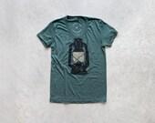 Tshirt for women - camping shirt - ladies graphic tee - kerosene lamp on forest green - Night Scouting by Blackbird Tees