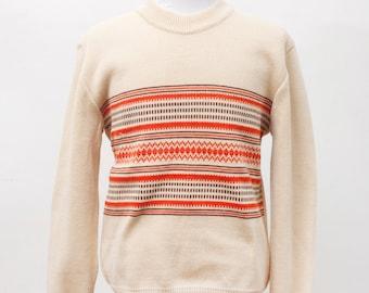 Men's Sweater / Vintage Geometric Print / Size Large