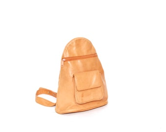 GRUNGE tan leather 80s 90s BACKPACK hobo triangle rucksack mini KNAPSACK