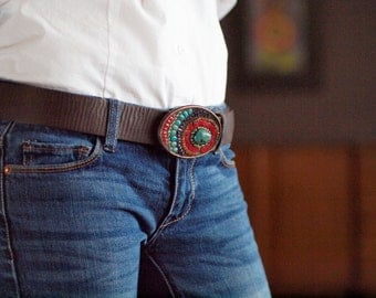 Belt Buckle Turquoise Belt Buckle Mosaic Belt Buckle SemiPrecious Stones Leather Belt Unique Gift Boho Fashion Southwest Buckle Romy & Clare