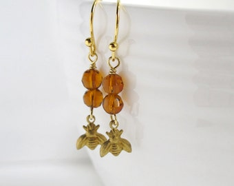 Golden Bee Dangle Earrings. Honey and the Bees. Simple Petite Delicate Dainty Brass Bee, Amber Glass Beads Earrings. For her Jewelry